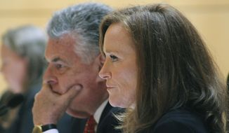Rep. Peter King, left, and Rep. Kathleen Rice, listen to testimony of the House Subcommittee on Terrorism and Intelligence at a hearing on Tuesday, June, 20, 2017, at the U.S. District Courthouse in Central Islip, N.Y. The hearing focused on gang violence, particularly the MS-13 street gang which has been blamed for 19 killings on Long Island in the past 18 months. (AP Photo/Frank Eltman)