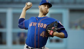 New York Mets starting pitcher Zack Wheeler throws against the Los Angeles Dodgers during the first inning of a baseball game, Monday, June 19, 2017, in Los Angeles. (AP Photo/Jae C. Hong)