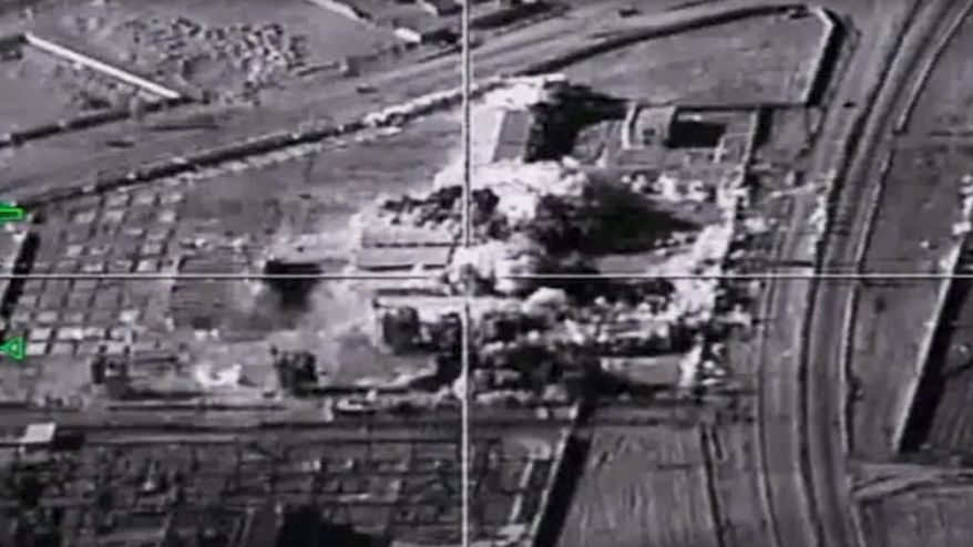 FILE - In this photo provided on Tuesday, Jan. 24, 2017, by the Russian Defense Ministry Press Service, shows an Islamic State group base targeted by a Russian air strike , around Deir el-Zour in eastern Syria. Syrian government and allied troops have inserted themselves into the battle against Islamic State militants by capturing key areas on the flanks of the coalition-led battle to seize Raqqa. They have positioned themselves as indispensable possibly spoilers in the fight to uproot the militants from Syria. (Russian Defense Ministry Press Service Photo via AP, File)