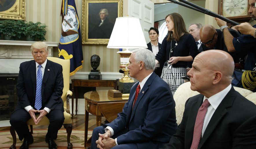 President Donald Trump listens during a meeting with Ukrainian President Petro Poroshenko in the Oval Office of the White House, Tuesday, June 20, 2017, in Washington. From left, Trump, Vice President Mike Pence, and National Security Adviser H.R. McMaster. (AP Photo/Evan Vucci)