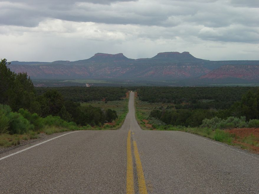 Shown in this picture is Utah Highway 261 toward the Bears Ears. Bear Ears By U.S. Geological Surey (https://3dparks.wr.usgs.gov/nabr/html2/nb077.htm) [Public domain], via Wikimedia Commons.