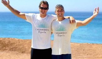Actor George Clooney, right, and business partner Rande Gerber, left, sold their tequila brand Casamigos for $1 billion. Not pictured is business partner Mike Meldman. (Instagram, Casamigos)