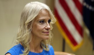 Kellyanne Conway, counselor to President Donald Trump, is seen during a listening session conducted by Health and Human Services Secretary Tom Price, in the Roosevelt Room of the White House, Wednesday, June 21, 2017, in Washington. (AP Photo/Alex Brandon)