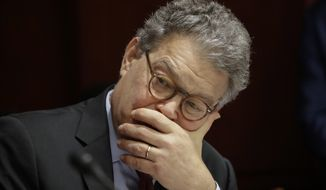 Sen. Al Franken, D-Minn., listens as Democratic senators hold a hearing hosted by Democratic Policy and Communications Committee Chair Debbie Stabenow, D-Mich., about how the GOP health care bill could hurt rural Americans, at the Capitol in Washington, Wednesday, June 21, 2017. (AP Photo/J. Scott Applewhite)