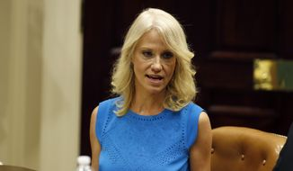 Kellyanne Conway, senior White House Adviser, speaks during a listening session conducted by Health and Human Services Secretary Tom Price, in the Roosevelt Room of the White House, Wednesday, June 21, 2017, in Washington. (AP Photo/Alex Brandon) ** FILE **