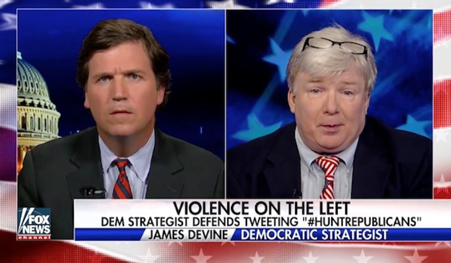 "Jim Devine, a New Jersey Democratic strategist under fire for tweeting #HuntRepublicans and #HuntRepublicanCongressmen after last week's congressional baseball shooting, doubled down on the violent rhetoric Wednesday, saying it's ""time for hunting"" after Republican Karen Handel won Georgia's special congressional election over Democrat Jon Ossoff. (Fox News)"
