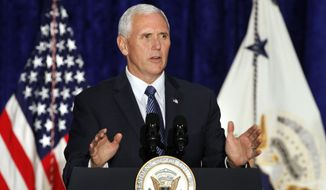 Vice President Mike Pence speaks at the Justice Department's National Summit on Crime Reduction and Public Safety, in Bethesda, Md., on Wednesday, June 21, 2017. (AP Photo/Jacquelyn Martin)