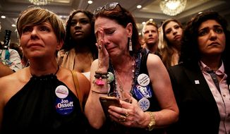 Jan Yanes and other backers of House Democratic candidate Jon Ossoff had red-state blues Tuesday night in Atlanta. (Associated Press)
