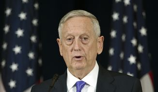 Secretary of Defense Jim Mattis appears at news conference following a Diplomatic and Security Dialogue Meeting with a Chinese delegation including State Counselor Yang Jiechi and military Chief of Joint Staff Fang Fenghui, at the State Department in Washington, Wednesday, June 21, 2017. (AP Photo/Cliff Owen) ** FILE **