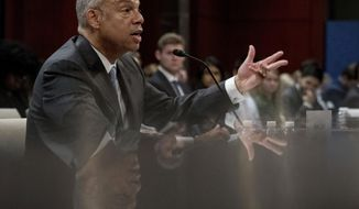 Former Homeland Security Secretary Jeh Johnson testifies to the House Intelligence Committee task force on Capitol Hill in Washington, Wednesday, June 21, 2017, as part of the Russia investigation. (AP Photo/Andrew Harnik)