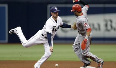 Cincinnati Reds' Billy Hamilton, right, steals second base as Tampa Bay Rays second baseman Daniel Robertson loses the ball during the fourth inning of a baseball game Wednesday, June 21, 2017, in St. Petersburg, Fla. (AP Photo/Chris O'Meara)
