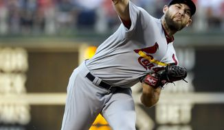 St. Louis Cardinals' Michael Wacha pitches during the third inning of the team's baseball game against the Philadelphia Phillies, Wednesday, June 21, 2017, in Philadelphia. (AP Photo/Matt Slocum)