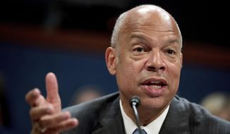 Former Homeland Security Secretary Jeh Johnson testifies to the House Intelligence Committee task force on Capitol Hill in Washington, Wednesday, June 21, 2017, as part of the Russia investigation. (AP Photo/Andrew Harnik) ** FILE **