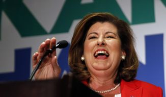 CORRECTS THE SPELLING OF HANDEL'S FIRST NAME TO KAREN - Republican candidate for Georgia's 6th District Congressional seat Karen Handel declares victory during an election-night watch party Tuesday, June 20, 2017, in Atlanta. (AP Photo/John Bazemore)