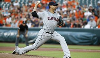 Cleveland Indians starting pitcher Carlos Carrasco throws to the Baltimore Orioles in the first inning of a baseball game in Baltimore, Wednesday, June 21, 2017. (AP Photo/Patrick Semansky)