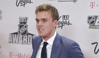 Edmonton Oilers' Connor McDavid poses before the NHL Awards, Wednesday, June 21, 2017, in Las Vegas. (AP Photo/John Locher)