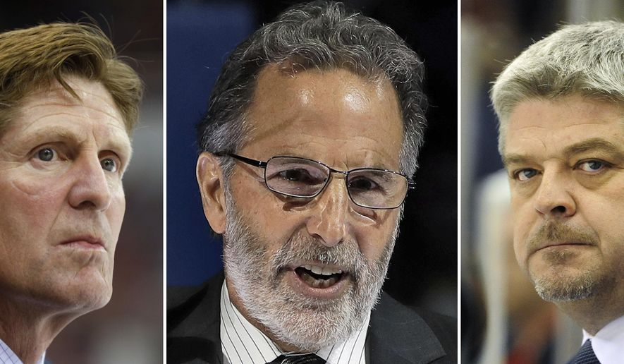 FILE - At left is an Oct. 2, 2015, file photo showing Toronto Maple Leafs head coach Mike Babcock watching from the bench during an NHL game against the  Detroit Red Wings, in Detroit. At center, in a Jan. 13, 2017, file photo, Columbus Blue Jackets coach John Tortorella speaks before an NHL hockey game between Tampa and the Blue Jackets, in Tampa, Fla .At right, in a Nov. 6, 2016, file photo, Edmonton Oilers head coach Todd McLellan watches his team play against the Detroit Red Wings, in Detroit. Babcock, Tortorella and McLellan had plenty in common. Not only did the three steer their playoff-starved franchises to the postseason, they are the NHL coach of the year Jack Adams Trophy candidates. (AP Photo/File)