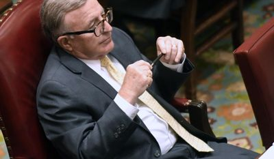 Senate Deputy Majority Leader John DeFrancisco, R-Syracuse, listens to members speak in the Senate Chamber at the state Capitol during the last day of the legislative session on Wednesday, June 21, 2017, in Albany, N.Y. (AP Photo/Hans Pennink)