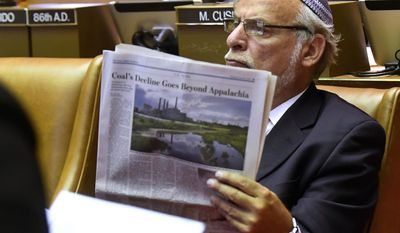 Assemblyman Dov Hikind, D-Brooklyn, waits for session to begin at the state Capitol during the last day of the legislative session on Wednesday, June 21, 2017, in Albany, N.Y. (AP Photo/Hans Pennink)