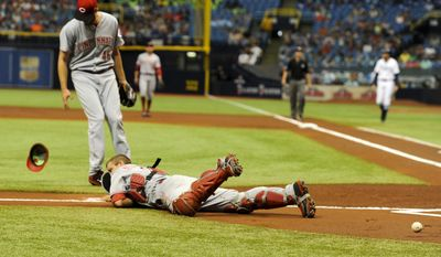 Cincinnati Reds catcher Devin Mesoraco (39) in unable to field a foul ball as Cincinnati Reds starting pitcher Tim Adleman (46) looks on during the first inning of a baseball game against the Tampa Bay Rays, Wednesday, June 21, 2017 in St. Petersburg, Fla. (Chris Urso/Tampa Bay Times via AP)
