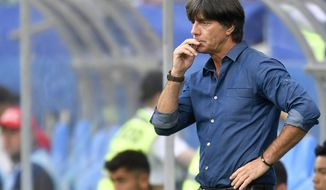 Germany coach Joachim Loew follows during the Confederations Cup, Group B soccer match between Australia and Germany, at the Fisht Stadium in Sochi, Russia, Monday, June 19, 2017. (AP Photo/Martin Meissner)