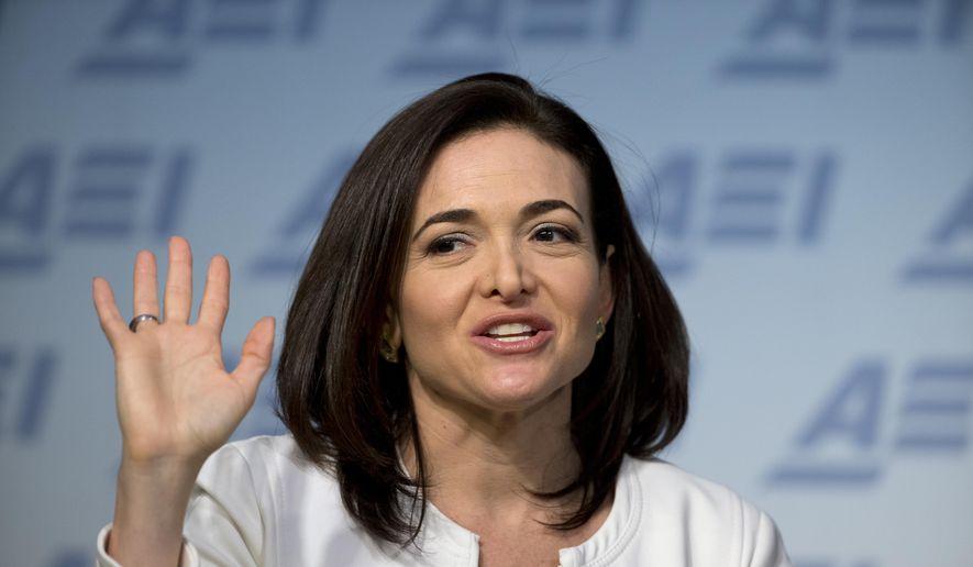 Facebook Chief Operating Officer Sheryl Sandberg speaks at the American Enterprise Institute in Washington on June 22, 2016. (Associated Press) **FILE**