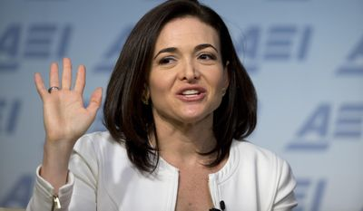 Facebook Chief Operating Officer Sheryl Sandberg speaks at the American Enterprise Institute in Washington on June 22, 2016. (Associated Press) **FILE**