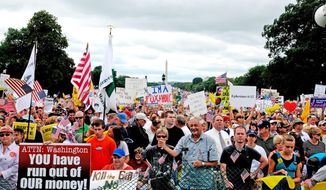 THE TEA PARTY BACK IN THE DAY: 100,000 people attended this 2009 Washington tea party rally, organized by the California-based Tea Party Express. (Mary F. Calvert/The Washington Times)