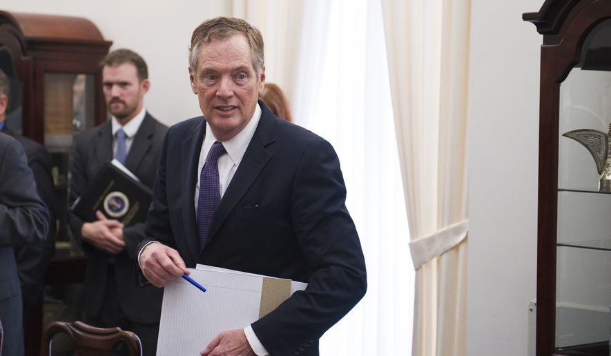 U.S. Trade Representative Robert Lighthizer arrives for a meeting with German Minister for Economic Affairs and Energy Brigitte Zypries in Washington on May 24, 2017. (Associated Press) ** FILE **