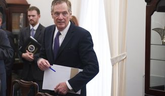U.S. Trade Representative Robert Lighthizer arrives for a meeting with German Minister for Economic Affairs and Energy Brigitte Zypries in Washington on May 24, 2017. (Associated Press) **FILE**