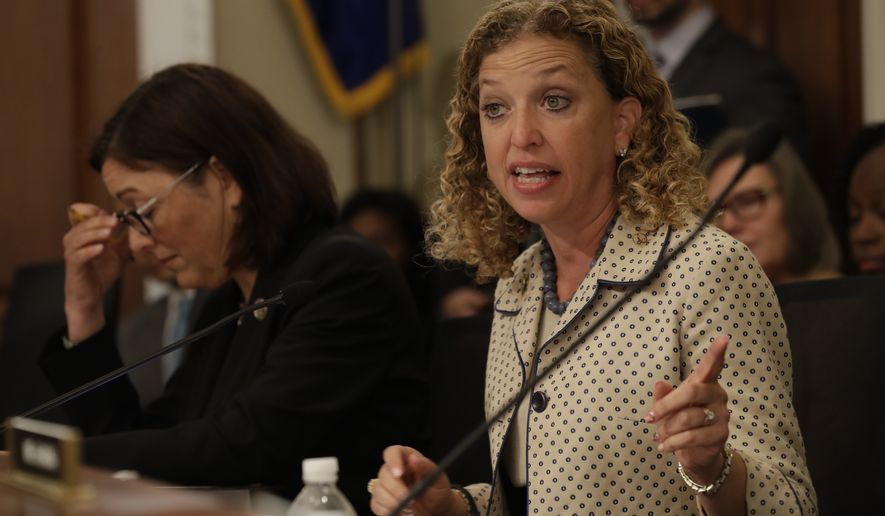 House Budget Committee  member Rep. Debbie Wasserman Schultz, D-Fla., questions Budget Director Mick Mulvaney on Capitol Hill in Washington, Wednesday, May 24, 2017, during the committee's hearing on President Donald Trump's fiscal 2018 federal budget. Fellow committee member Rep. Susan DelBene, D-Wash. is at left. (AP Photo/Jacquelyn Martin) ** FILE **