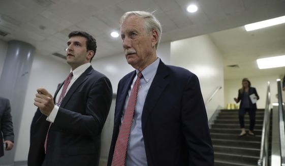 Sen. Angus King, I-Maine, leaves after Republicans released their long-awaited bill to scuttle much of President Barack Obama's Affordable Care Act, at the Capitol in Washington, Thursday, June 22, 2017. GOP leaders hope to vote on the bill next week and can only afford two defections from the 52 Senate Republicans but the measure encountered immediate trouble as four Republican senators said they opposed it but were open to negotiations. (AP Photo/J. Scott Applewhite)