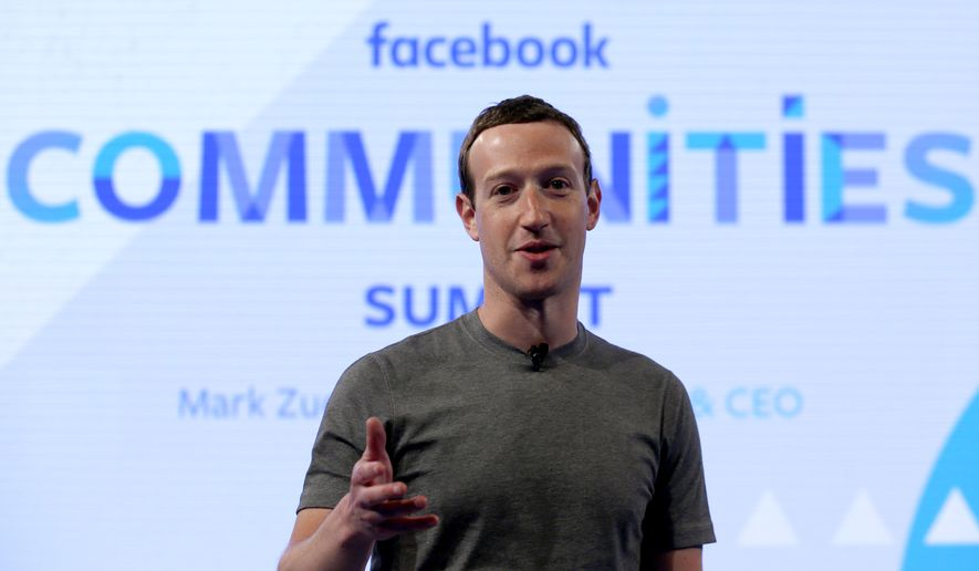 In this Wednesday, June 21, 2017, photo, Facebook CEO Mark Zuckerberg speaks at the Facebook Communities Summit, in Chicago, in advance of an announcement of a new Facebook initiative designed to spur people to form more meaningful communities with Facebook's groups feature. (AP Photo/Nam Y. Huh)