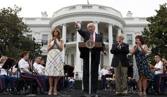 President Donald Trump, center, speaks, as first lady Melania Trump, left, Vice President Mike Pence and his wife Karen Pence, listen at the Congressional Picnic on the South Lawn of the White House, Thursday, June 22, 2017, in Washington. (AP Photo/Alex Brandon)