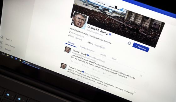 President Trump's Twitter page (Associated Press/File)