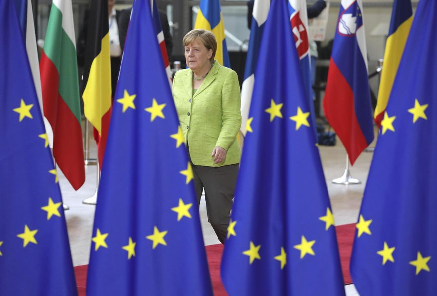 German Chancellor Angela Merkel arrives for an EU summit at the Europa building in Brussels on Thursday, June 22, 2017. European Union leaders are gathering for a two day summit to weigh measures in which to tackle terrorism and migration and to create closer defense ties. (AP Photo/Olivier Matthys)
