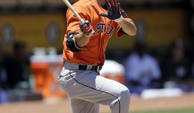 Houston Astros' Norichika Aoki swings for a double off Oakland Athletics pitcher Jesse Hahn in the first inning of a baseball game, Thursday, June 22, 2017, in Oakland, Calif. (AP Photo/Ben Margot)