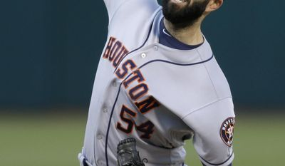 Houston Astros pitcher Mike Fiers works against the Oakland Athletics during the first inning of a baseball game Wednesday, June 21, 2017, in Oakland, Calif. (AP Photo/Ben Margot)