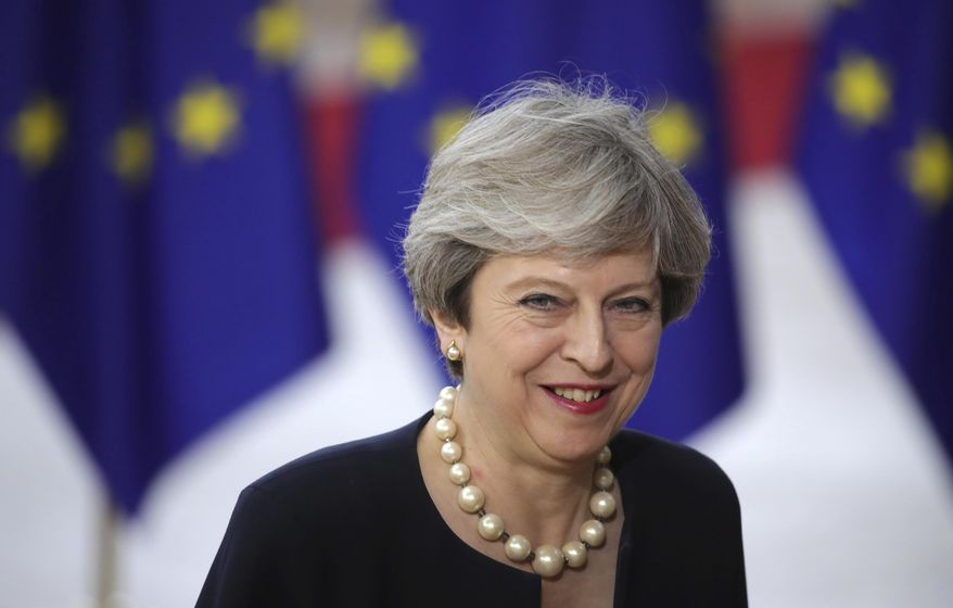 British Prime Minister Theresa May arrives for an EU summit at the Europa building in Brussels on Thursday, June 22, 2017. European Union leaders are gathering for a two day summit to weigh measures in which to tackle terrorism and migration and to create closer defense ties. (AP Photo/Olivier Matthys)