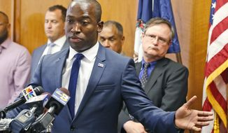 Richmond Mayor Levar Stoney gestures during a news conference at City Hall Thursday, June 22, 2017, in Richmond, Va. Stoney announced the formation of a commission tasked to redefine the narrative of the Confederate statues on Monument Avenue. (AP Photo/Steve Helber)