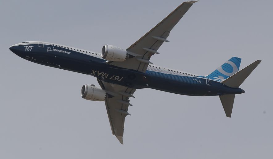 A Boing 737 MAX 9 performs his demonstration flight at Paris Air Show, in Le Bourget, east of Paris, France, Tuesday, June 20, 2017 in Paris. Aviation professionals and spectators are expected at this week's Paris Air Show, coming in, in a thousands from around the world to make business deals. (AP Photo/Michel Euler)