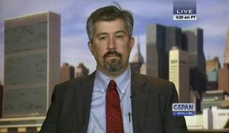 In this image from video provided by C-SPAN, Wall Street Journal reporter Jay Solomon is interview on the C-SPAN program Washington Journal on Sept. 23, 2014 in Washington. The Wall Street Journal on June 21, 2017, fired Solomon after evidence emerged about his involvement in prospective business deals, including one involving arms sales to foreign governments, with an international businessman who was one of his key sources. Solomon was offered a 10 percent stake in a fledgling company, Denx LLC, by Farhad Azima, an Iranian-born aviation magnate who ferried weapons for the CIA. It was not clear whether Solomon ever received money or formally accepted a stake in the company. Solomon did not immediately comment. (C-SPAN via AP)