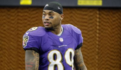 FILE - In this Sunday, Nov. 20, 2016, file photo, Baltimore Ravens wide receiver Steve Smith walks along the sideline during an NFL football game against the Dallas Cowboys, in Arlington, Texas.  Life after football hits some NFL players harder than others. Michael Vick, Steve Smith and Justin Forsett are adjusting to their post-NFL careers nicely.(AP Photo/Roger Steinman)