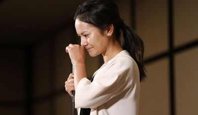 FILE - In this May 29, 2017, file photo, Japanese golfer Ai Miyazato gets emotional at the end of a press conference where she announced her retirement at the end of the season, in Tokyo. More relaxed following the announcement, she'll play her first tournament in the U.S. since then when she tees up at this weekend's NW Arkansas Championship. (AP Photo/Shuji Kajiyama, File)