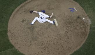 Milwaukee Brewers relief pitcher Corey Knebel throws during the ninth inning of a baseball game against the Pittsburgh Pirates Thursday, June 22, 2017, in Milwaukee. (AP Photo/Morry Gash)