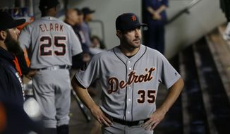 Detroit Tigers starting pitcher Justin Verlander (35) stands in the dugout after he was pulled in the sixth inning of a baseball game against the Seattle Mariners, Wednesday, June 21, 2017, in Seattle. The Mariners won 7-5. (AP Photo/Ted S. Warren)