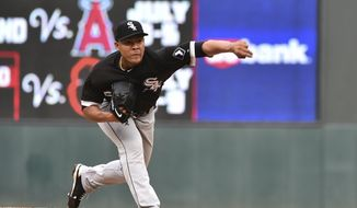 Chicago White Sox starter Jose Quintana pitches to the Minnesota Twins during the third inning of a baseball game, Thursday, June 22, 2017, in Minneapolis. (AP Photo/John Autey)