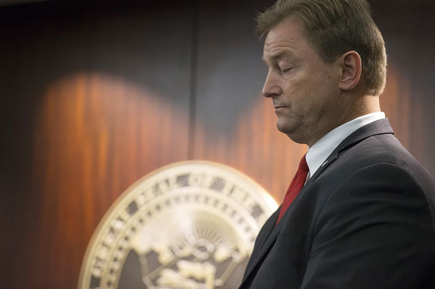 Sen. Dean Heller, R-Nev., during a press conference where he announced he will vote no on the proposed GOP healthcare bill at the Grant Sawyer State Office Building on Friday, June 23, 2017 in Las Vegas. (Erik Verduzco/Las Vegas Review-Journal via AP) LOCAL TELEVISION OUT; LOCAL INTERNET OUT; LAS VEGAS SUN OUT