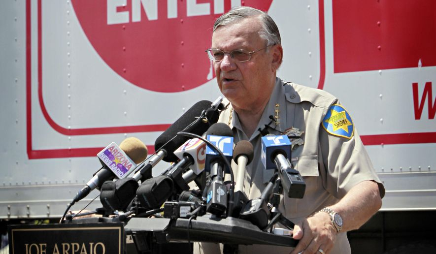 In this Thursday, July 29, 2010, file photo, Maricopa County Sheriff Joe Arpaio speaks in Phoenix announcing his crime suppression sweeps. The former longtime sheriff of metro Phoenix will go to court Monday, June 26, 2017, to defend his reputation at a trial in which he's charged with purposefully disobeying a judge's order. Arpaio is charged with criminal contempt-of-court for prolonging his immigration patrols 17 months after a judge ordered them stopped. (AP Photo/Matt York, File)