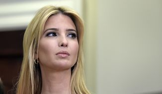 In this June 15, 2017, file photo, Ivanka Trump listens as President Donald Trump speaks in the Roosevelt Room of the White House in Washington, during an event on Apprenticeship and Workforce of Tomorrow initiatives. (AP Photo/Susan Walsh, File)